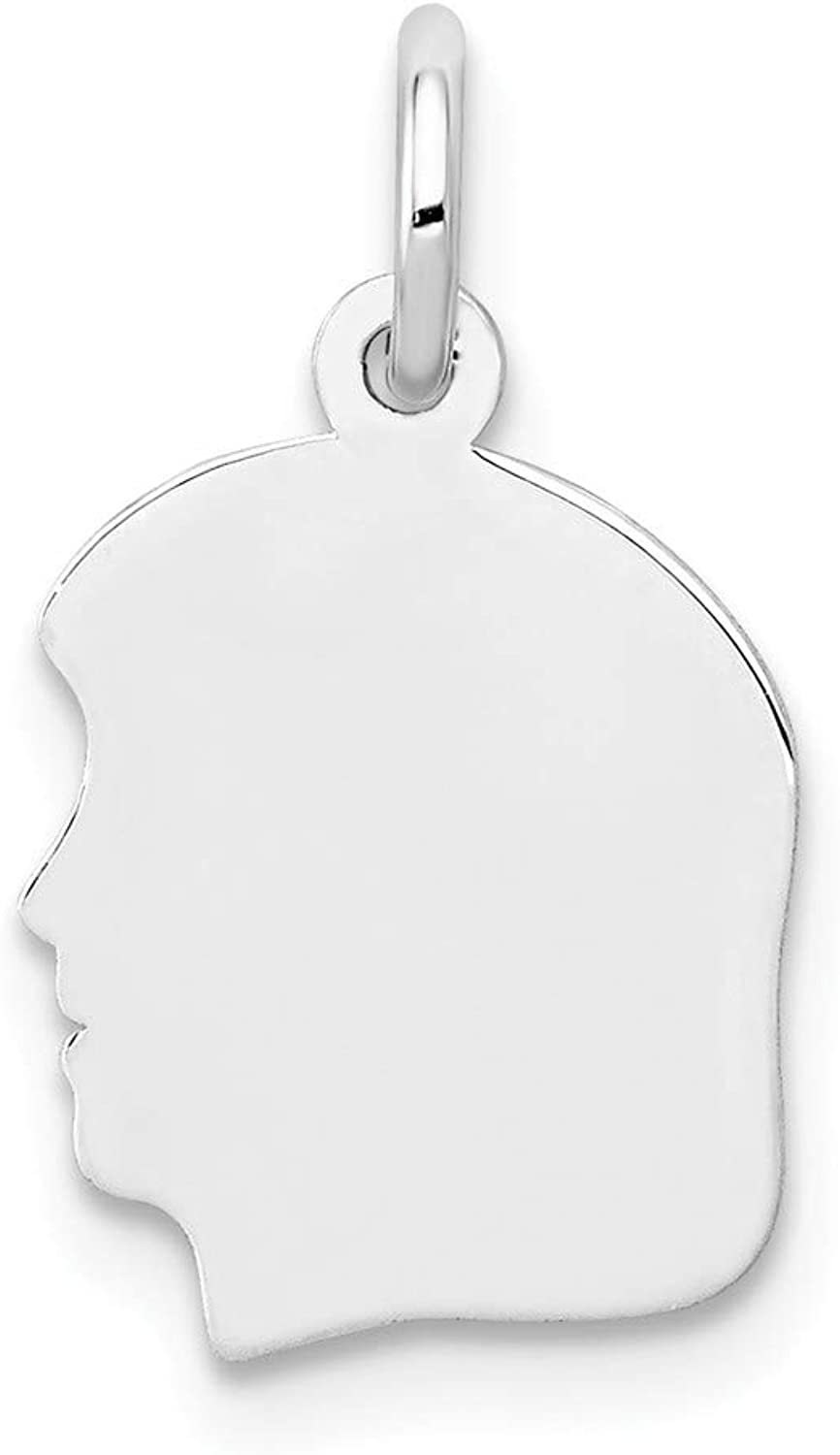 Diamond2Deal 14k White gold Plain Small Facing Left Engravable Girl Pendant