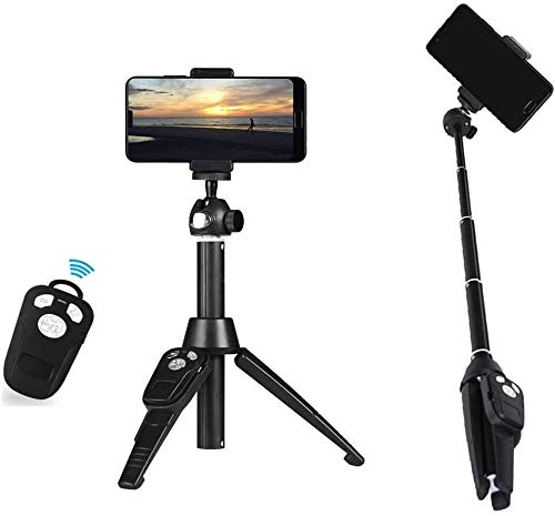 Feceyq Rugged Tripod PC Bluetooth Selfie Stick Tripod Mini All-in-one Bluetooth Camera Selfie Stick Desktop Stand Suitable for Outdoor Live Broadcast Best Gift
