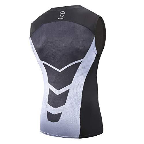 AMZSPORT Chaleco de Compresión Deportiva para HombreCapa Base sin Mangas Corriendo Camiseta - Negro S