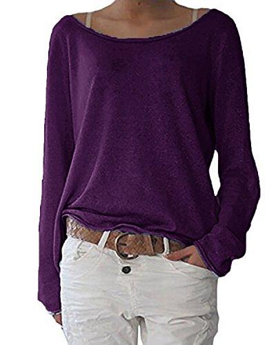 ZANZEA Damen Langarm Lose Bluse Hemd Shirt Oversize Sweatshirt Oberteil Tops Lila EU 48/Etikettgröße 2XL