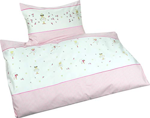 Lorenchen/Lorena Mako-Batist Kinderbettwäsche für Mädchen Ballerina Rosa100% Baumwolle (135 x 200 cm + 80 x 80 cm)