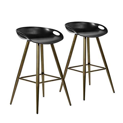 WarmCentre - Juego de 2 taburetes de bar, para barra de desayuno, sillas de bar minimalista, taburetes altos, altura del asiento 27.6 pulgadas, con respaldo bajo y reposapiés,...