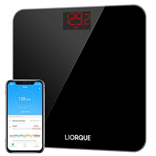 Liorque - Báscula digital de peso corporal, báscula inalámbrica de alta precisión con aplicación para smartphone, peso de baño inteligente y escala IMC, varios usuarios, vidrio templado resistente, 180 kg, color negro