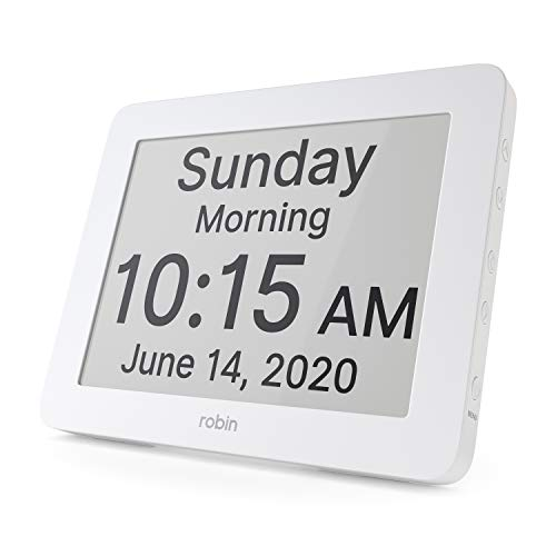 Robin, 2020 Version, Digital Day Clock 2.0 with Custom Alarms and Calendar Reminders, Alarm Clock with Extra Large Display Helps with Memory Loss, Alzheimer