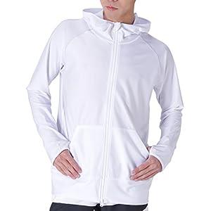 PONTAPES(ポンタペス) ラッシュガード パーカー メンズ 全20色 PR-4200 ホワイト XXL ラッシュパーカー 長袖 UVカット UPF50 + 水着 ランニング アウトドア ホワイト 白色おおきいサイズ