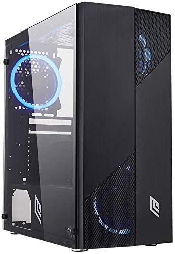 Noua Smash S7 Black Case ATX per PC Gaming 0.50MM SPCC 3*USB3.0/2.0 con 4 Ventole Dual Halo 30 LED Blu Pannello Laterale in Vetro Temperato (AxPxL: 415x390x190 mm)