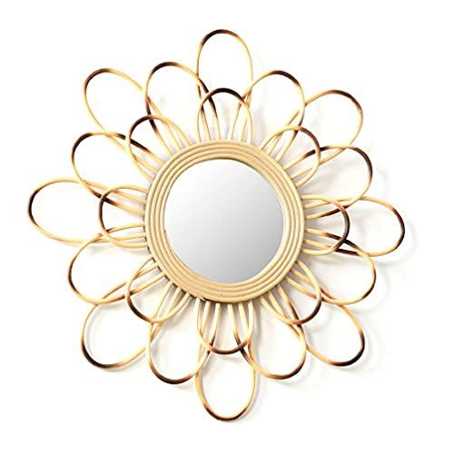 Espejo de pared de ratán redondo hueco con borde de flores innovadoras decoración para el hogar Espejo decorativo para decoración del hogar con forma de sol