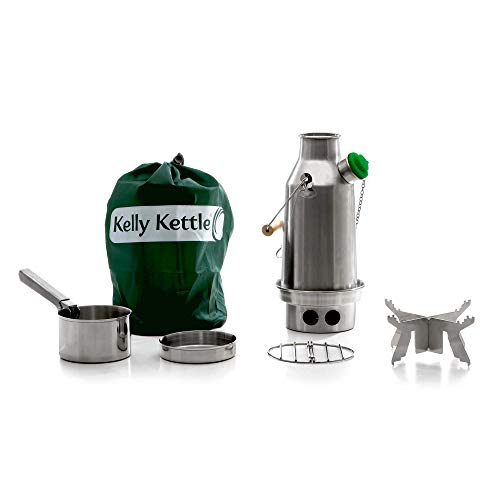 Kelly Kettle Trekker 20 oz. Stainless Steel Basic Kit (0.6 LTR) Rocket Stove Boils Water Ultra Fast with just Sticks/Twigs. for Camping, Fishing, Scouts, Hunting, Emergencies, Hurricanes, Tornados