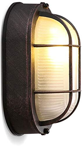 ARONTOME Außenlampe, Vintage Gitter Lampe, Wandlampe Wasserdicht Aluminiumguss Und Glas Aussenleuchte Retro E27 Landhaus Hoflampe Eingangs Außen-Wandleuchte Beinhaltet (Rote Bronze)