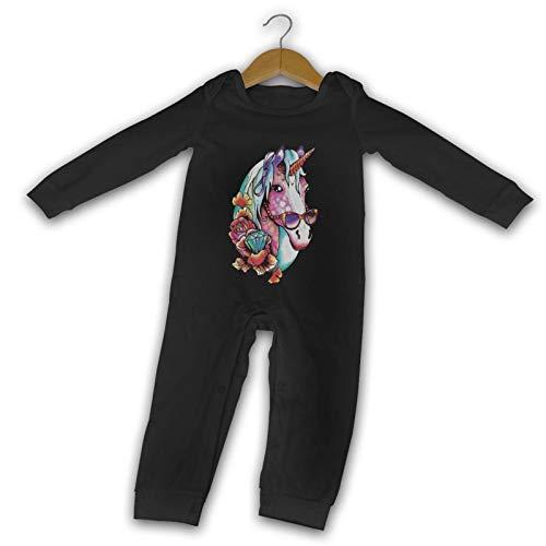 WushXiao Funky Unicorn Long Comfort Baby Crawler schwarz Gr. 12 Monate, Schwarz