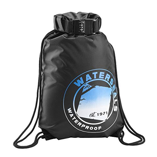 WaterSeals Cinch Drawstring BackPack Women & Men Anti-Theft Combination Lock + Ripstop Waterproof Material to Protect Wallet iPhone + Valuables at The Beach Pool Sports Camping, Black