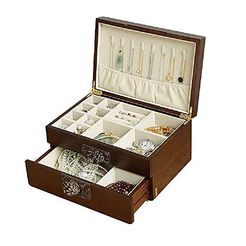 N\C Joyero de madera maciza con espejo y cajón, pendientes de collar, caja de almacenamiento de gran capacidad, color marrón