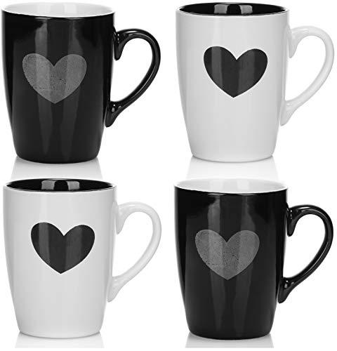 COM-FOUR® 4x tazza da caffè con cuore - tazza da caffè in ceramica pregiata - caffettiera per bevande fredde e calde - tazza da tè - tazze partner - 340 ml (04 pezzi - cuore)