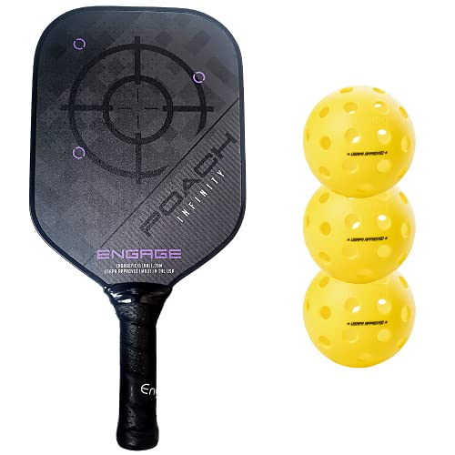 Engage Poach Infinity Second Generation Pickleball Paddle (Standard Weight 8.0 – 8.5 oz) & Onix 3-Pack Fuse G2 Pickleballs & Pickleball Tips Bundle Set – Racket for Control, Feel, Spin (Purple)