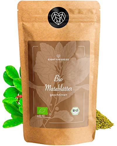 BIO Mate Tee - grüne Yerba Mateblätter - ungerösteter koffeinhaltiger Tee - geschnitten, naturbelassen - Premium Bio-Qualität - geprüft und abgefüllt in Deutschland (DE-ÖKO-39) | 80DEGREES (250g)