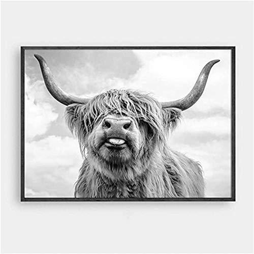 Karen Max Wall Art Freedom Highland Kuh Druck und Poster, Rinderbild, Gemälde für Wohnzimmer, Dekoration, Yak Wanddekoration 70x140cm No Frame