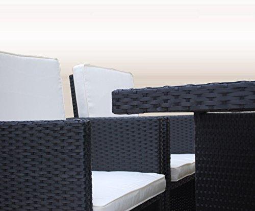 Ragnarök-Möbeldesign PolyRattan - DEUTSCHE Marke - EIGNENE Produktion - 8 Jahre GARANTIE auf UV-Beständigkeit Gartenmöbel Essgruppe Tisch + 4 Stühle & 4 Hocker 12 Polster Schwarz - 6