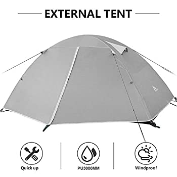 Forceatt Tente 2 Personnes Camping, 4 Saison Imperméable Anti UV, Tente Ultra Legere Facile Dôme Double Couchepour Pique-Nique, Randonnée, Trekking, Camping