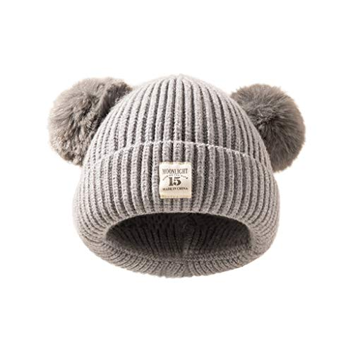 Kids Winter Knitted Pom Beanie Bobble Hat Cotton Lined Faux Fur Ball Pom Pom Cap Unisex Kids Beanie Hat (Gray)