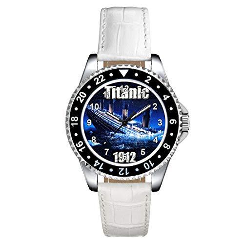 Timest - Titanic - Motiv Uhr Unisex mit Lederarmband in Weiss Rund Analog Quarz CSE019LW