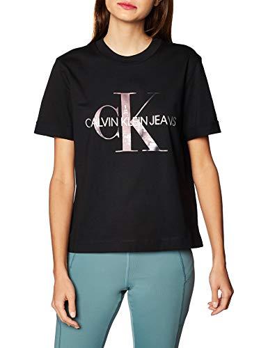 Calvin Klein New York Print CK Tee Camicia, Nero, L Donna