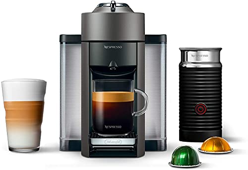 Nespresso Vertuo Coffee and Espresso Machine Bundle with Aeroccino Milk Frother by De