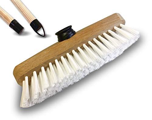 Balai brosse lave-pont 22 cm en PPL blanc | Monture bois | Pour laver récurer ponts terrasses carrelages sols tapis | Douille vissante plastique | Manche bois 1,25 m | Kibros 1111