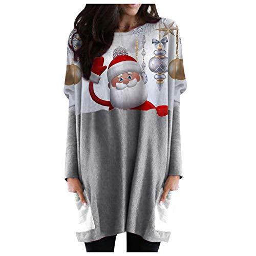 Lazzboy Sweatshirts Damen Pullover Hallo Schneemann Weihnachten Gedruckt O-Neck Plus...