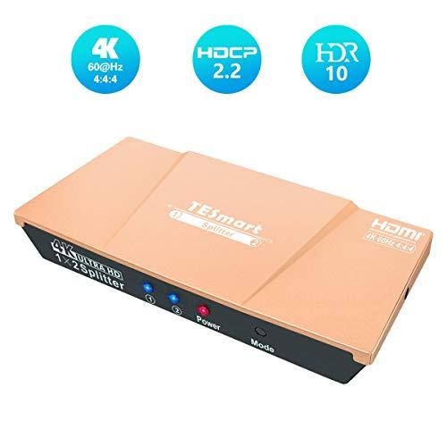 HDMIスプリッター、TESmart 4k60Hz hdmi分配器 1入力2分配 hdmi 分岐音声 hdmi splitter 1x2 hdmi映像分配器 HDR10 HDCP2.2 EDID対応 手動切り替え 1 in 2 out (金)