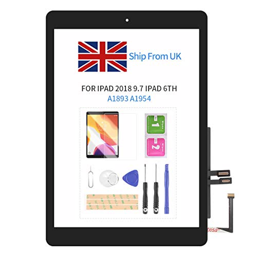 Digitizer For IPad 9.7' 2018 /iPad 6 6th Gen A1893 A1954 Touch Screen Replacement Parts,(NO LCD) Sensor Glass Panel with Free Screen Protector+Repair Tools (Black with Button)