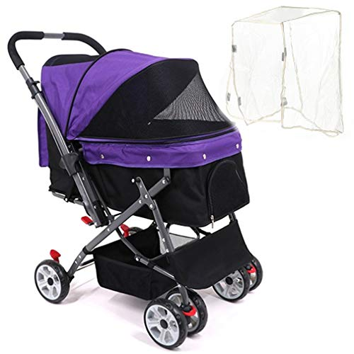Dog/Cat/Pet Stroller, 4 Wheel Dog Cage Stroller, Reversible Handle Bar, Light Portable Folding Stroller with Transparent Rain Cover for Medium Pets Up to 50 lbs, Three Color