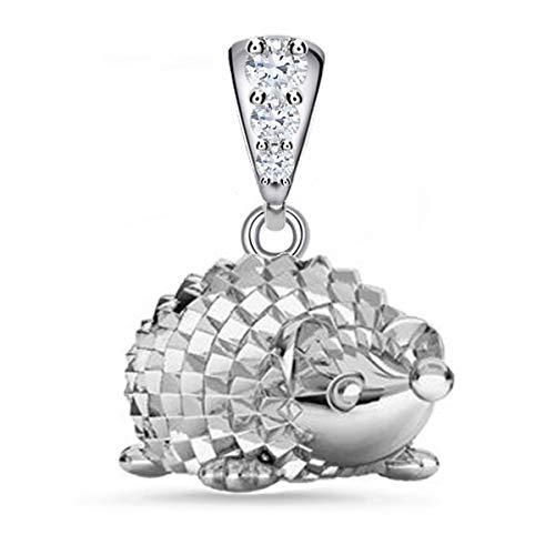 Igel Anhänger mit Zirkonia Kristallen 925 Silber Damen Mädchen Tiere (Silber/Anhänger ohne Kette, 0)