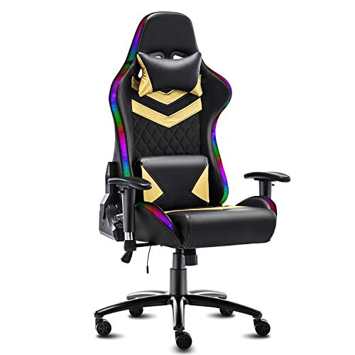 Modern-Depo High-Back Ergonomic Gaming Chair with RGB LED Lights, Headrest,...