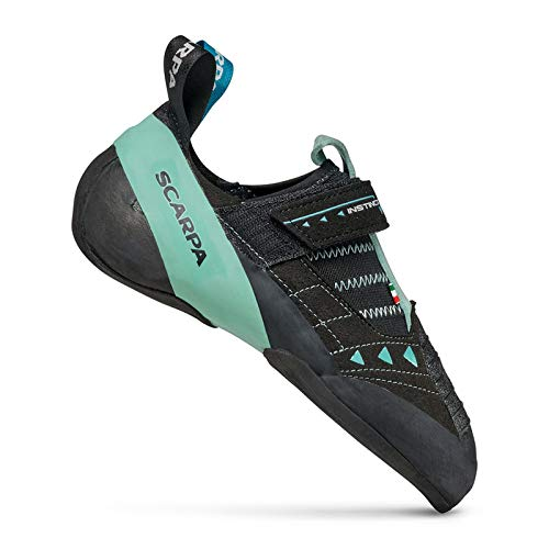 SCARPA Women's Instinct VS Rock Climbing Shoes for Sport Climbing and Bouldering - Low-Volume, Women's Specific Fit - Black/Aqua - 9-9.5