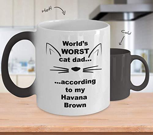 Taza de café Havana Brown Cat Dad que cambia de color para marido, regalos para amantes de los gatos locos, padres adoptivos, regalos divertidos para él, peor del mundo