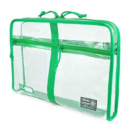 Rough Enough Plastic Clear File Folders Paper Organizer Document Bag Pouch A4 Big Large for Notebook Manila Envelopes Letter Size Case for Filing with Zipper Pockets Teacher Office School Art Supplies