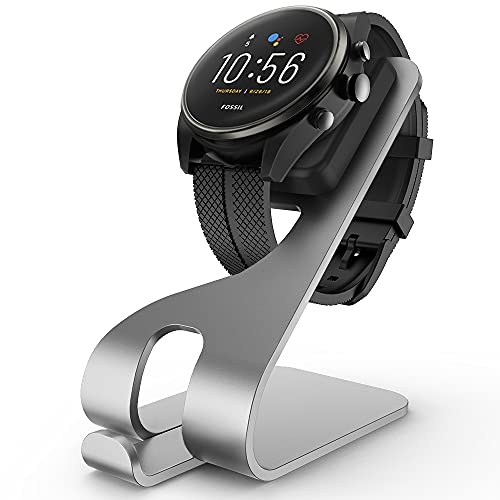 Tading Charger Stand Compatible with Fossil Gen 4/5/5E, Premium Aluminum Charing Dock Station with 4.9ft 150cm Replacement Charging Cable Cord for Fossil Gen 4, Gen 5 Smart Watch Accessories - Silver