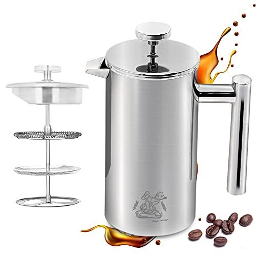 NEU! Montfort French Press aus Edelstahl   0,6 Liter   Erhältlich in 2 Größen   Thermo Kaffeebereiter doppelwandig isoliert   Kaffeepresse   Coffee Press