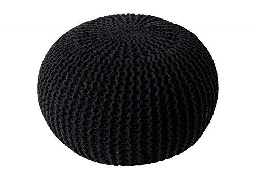 ANTARRIS Sitzpuff Sitzhocker Bodenkissen Ottonmane ver. Farben Ø 55 cm B 40cm Neues Modell: extra hoch Premium Baumwolle handgeknüpft (Deepblack (at))