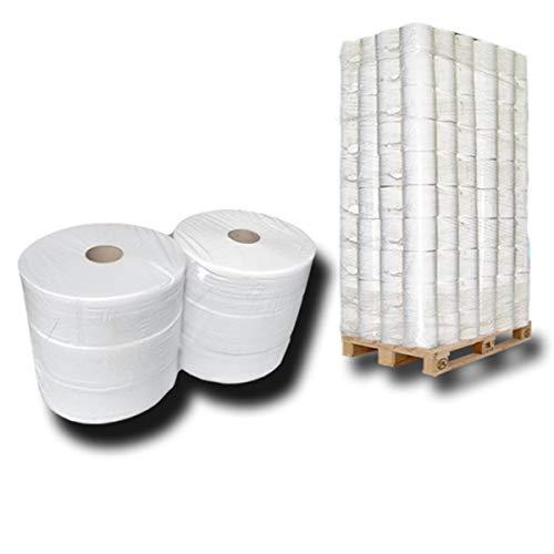 Palette Jumbo Toilettenpapier, Jumbo-Rollen, Klopapierrollen Jumbo, 2 lagig ca 80% Weiße, VE: 48 Pack/je 6 Rollen
