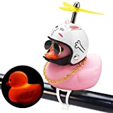 wonuu Rubber Duck Car Ornaments Pink Duck Bike Bell Cute Duck Car Dashboard Decorations Squeeze Duck Bicycle Horns with Propeller Helmet, Glasses and Gold Chain
