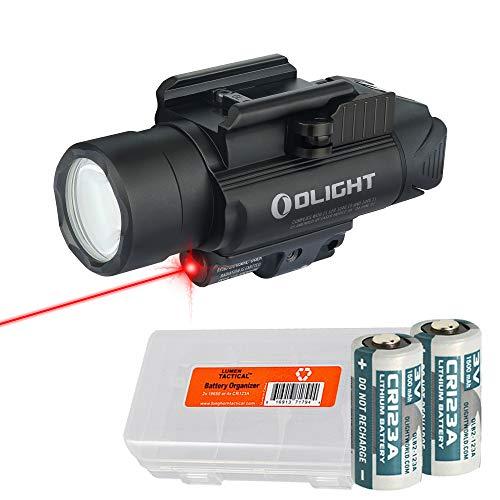 OLIGHT Baldr RL Black 1120 Lumen Pistol Flashlight and Red Laser Sight with LumenTac Battery Organizer