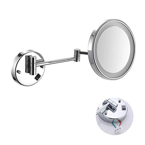 DCLINA Espejo Maquillaje con luz LED Espejo Afeitar montado en la Pared 3 aumentos Extensible y Acabado con o sin taladrar Un Solo Lado Redondo