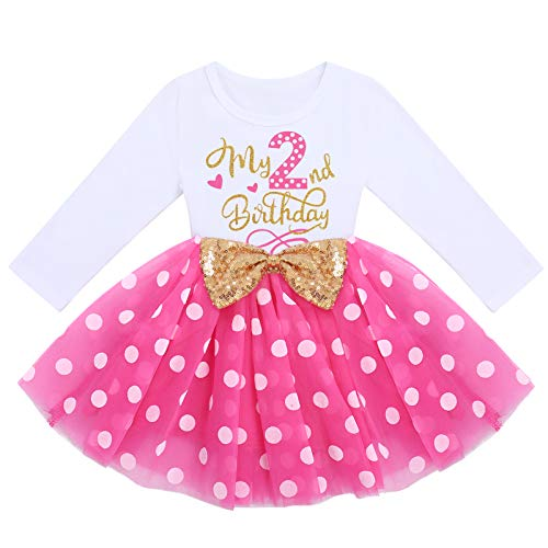 FYMNSI Vestido de manga larga para bebé, para niña, vestido de manga larga, vestido de tul, vestido de princesa, vestido de fiesta para sesión de fotos Rosa lunares – Mi segundo cumpleaños 2 Años