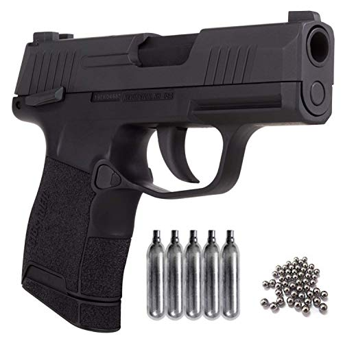 Sig Sauer P365 BB Blowback Air Pistol with CO2 12 Gram (5 Pack) and Pack of 100 Airgun .177/4.5mm Steel BBS Bundle