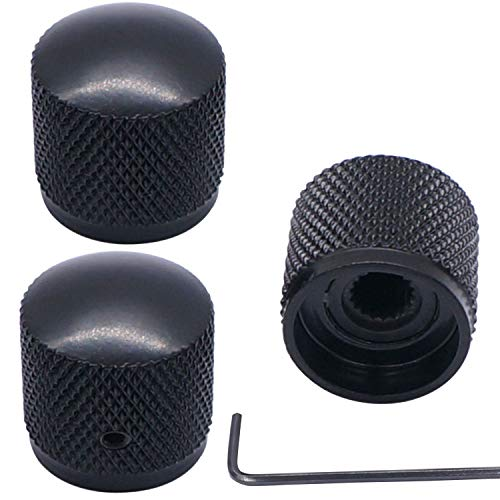 Taiss/3pcs Black Metal Dome Knobs Electric Guitar Volume Tone Control Knobs, Metal Volume Tone Knob ,Suitable for 6mm Shaft ,with Inner Hexagon Spanner Knob-10BK