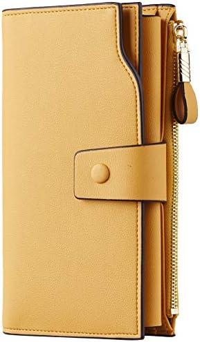Travelambo Womens RFID Blocking Large Capacity Luxury Waxed Genuine Leather Clutch Wallet Multi product image