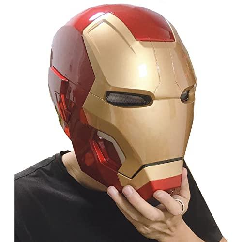 PRETAY Iron Man Casco Máscara Luminosa,Casco electrónico de Iron Man,Máscaras Cascos Película De Halloween Cosplay Accesorios De Disfraces,Adornos de Muebles,62cm (Color : Red, Size : XL(62CM))