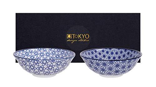 TOKYO Design Studio Nippon Blue 2-er Schalen-Set blau-weiß, Ø 21 cm, ca. 1000 ml, asiatisches Porzellan, japanisches Design mit blauen Mustern, inkl. Geschenk-Verpackung