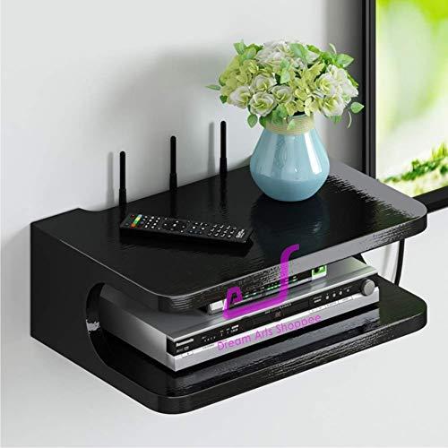 Dream Arts Shoppee Engineered Wood Set Top Box Stand Wall Shelf and WiFi Modem Display Rack for Living Room (Black)